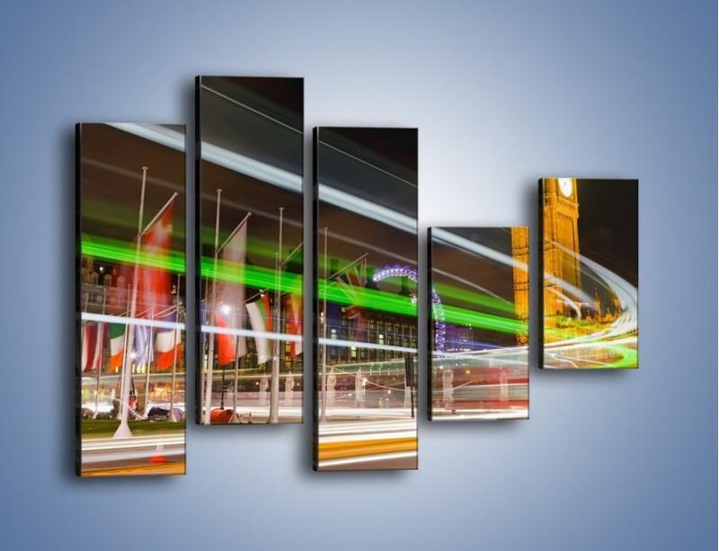 Obraz na płótnie – Światła samochodów na tle Big Bena – pięcioczęściowy AM283W4