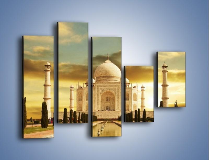 Obraz na płótnie – Tadź Mahal o zachodzie słońca – pięcioczęściowy AM285W4