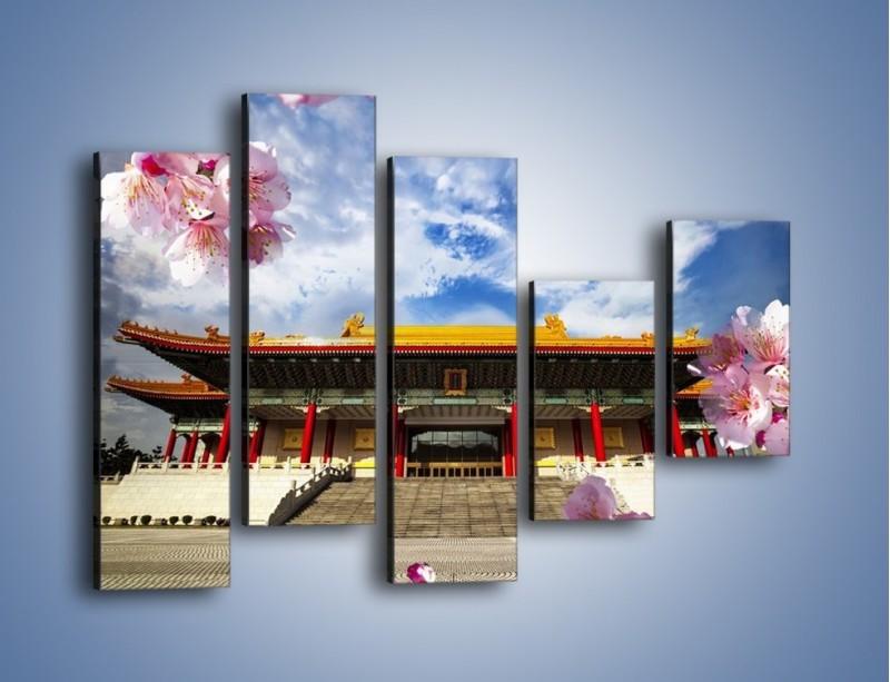 Obraz na płótnie – Azjatycka architektura z kwiatami – pięcioczęściowy AM298W4