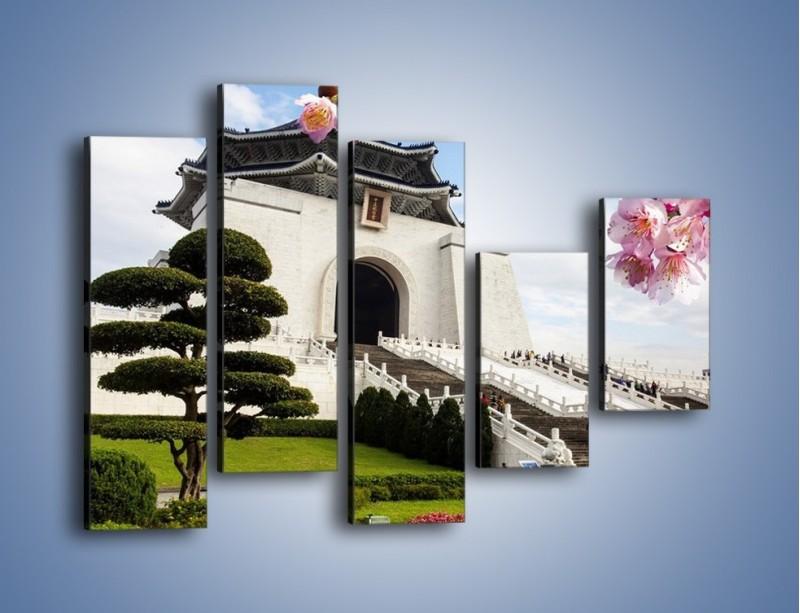 Obraz na płótnie – Azjatycka architektura – pięcioczęściowy AM299W4
