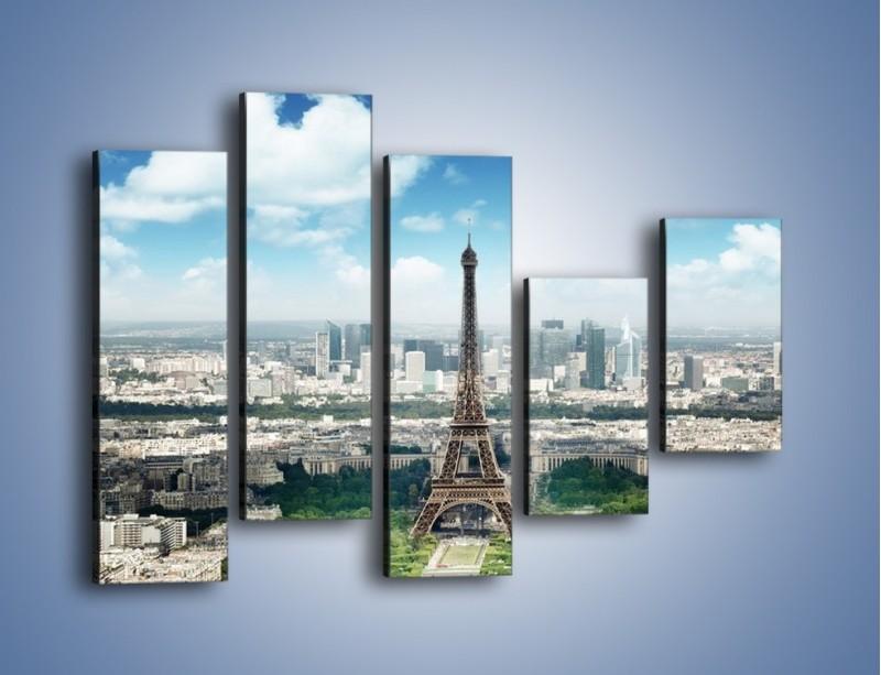Obraz na płótnie – Chmury nad Wieżą Eiffla – pięcioczęściowy AM302W4