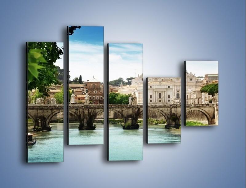 Obraz na płótnie – Rzeka Tyber na tle bazyliki – pięcioczęściowy AM303W4