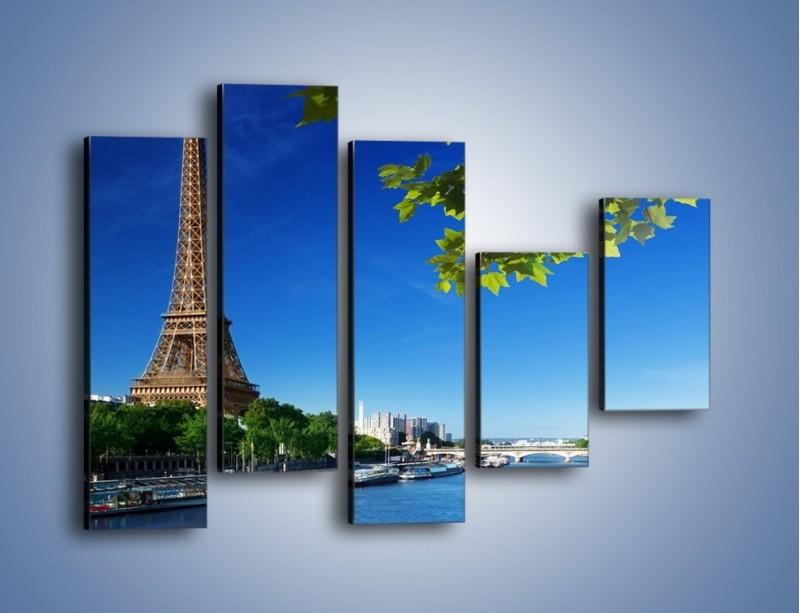 Obraz na płótnie – Wieża Eiffla w piękny dzień – pięcioczęściowy AM304W4