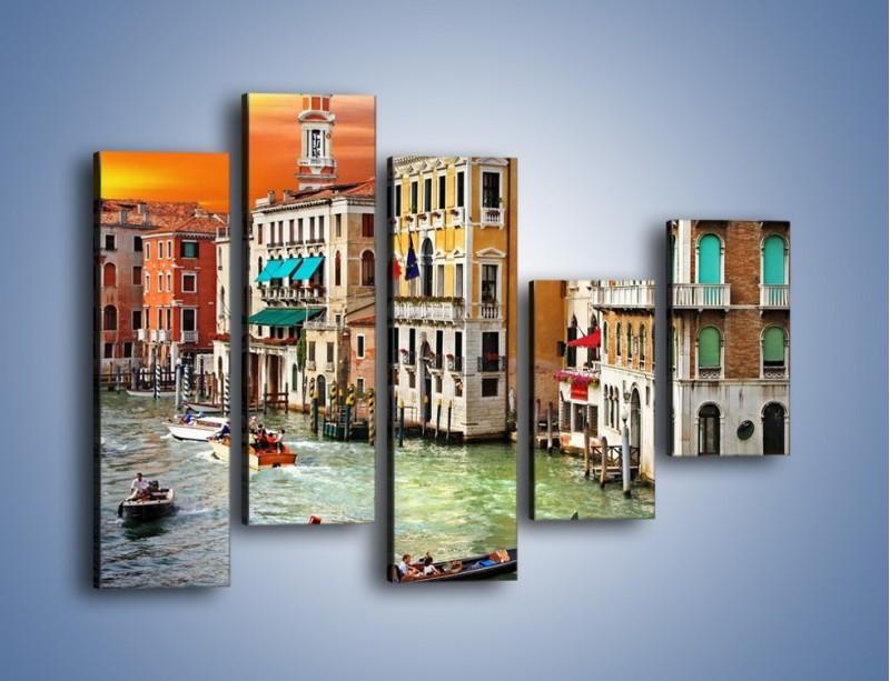 Obraz na płótnie – Kolory Wenecji o zachodzie słońca – pięcioczęściowy AM307W4