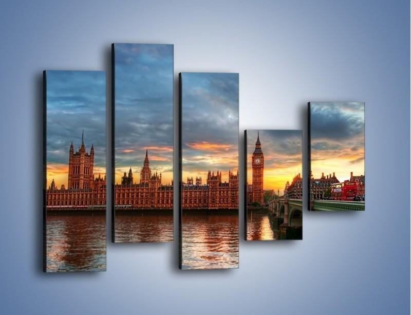 Obraz na płótnie – Pałac Westmnisterski i Big Ben – pięcioczęściowy AM321W4