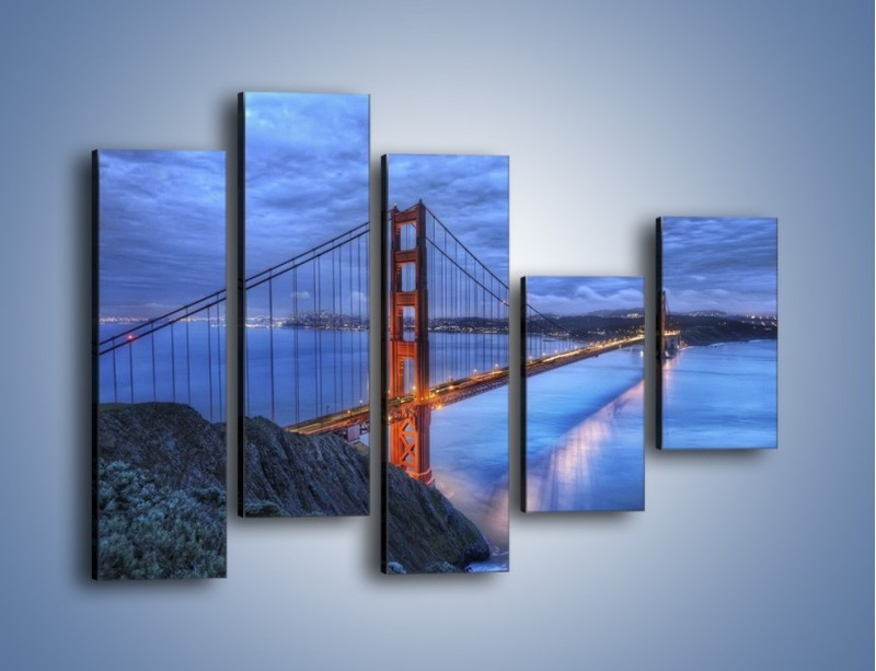 Obraz na płótnie – Most Golden Gate – pięcioczęściowy AM328W4
