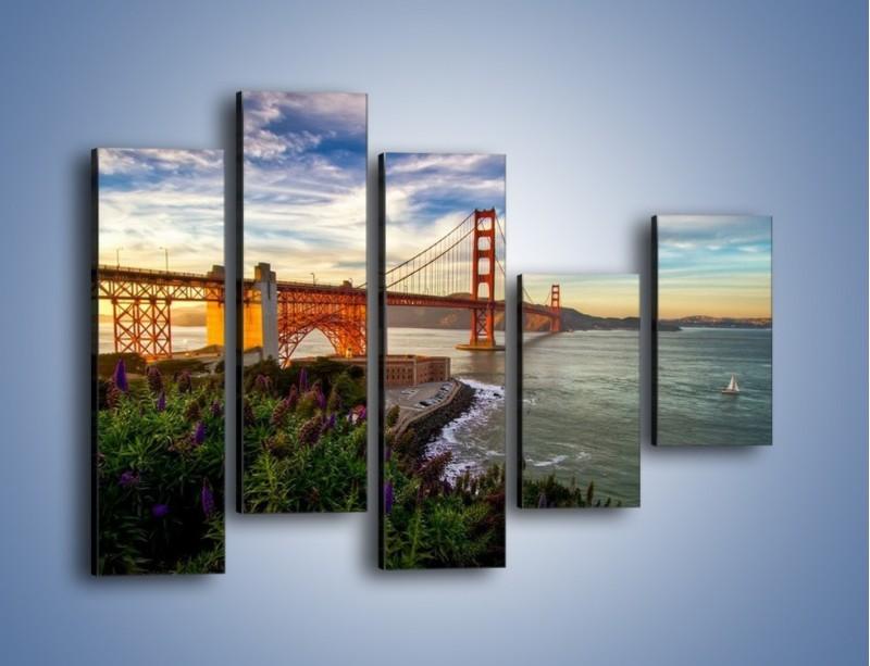 Obraz na płótnie – Most Golden Gate o zachodzie słońca – pięcioczęściowy AM332W4