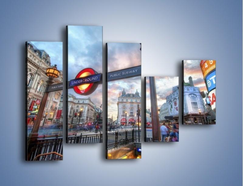 Obraz na płótnie – Wejście do londyńskiego metro – pięcioczęściowy AM334W4