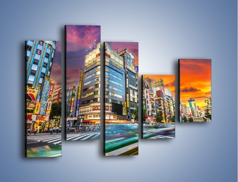 Obraz na płótnie – Tokyo na tle kolorowego nieba – pięcioczęściowy AM336W4