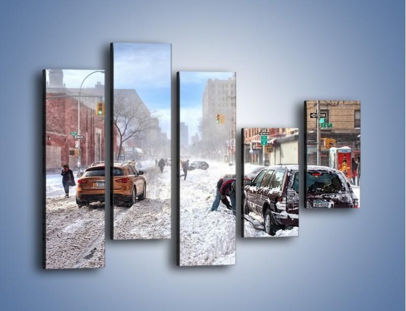Obraz na płótnie – Zaśnieżone ulice miasta – pięcioczęściowy AM342W4