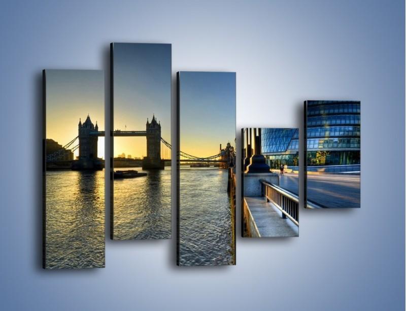 Obraz na płótnie – Londyński Tower Bridge – pięcioczęściowy AM348W4