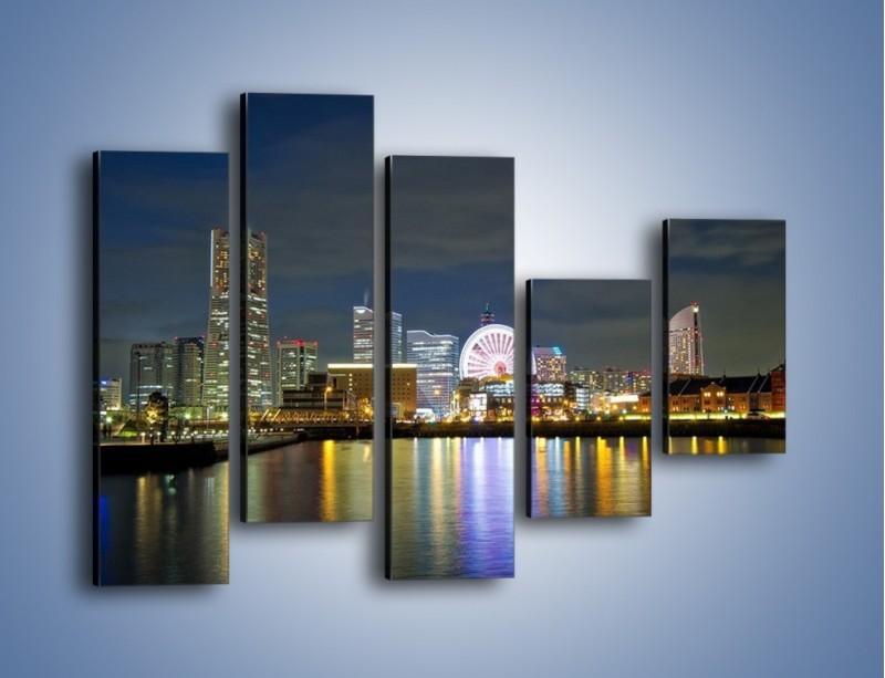 Obraz na płótnie – Yokohama nocą – pięcioczęściowy AM353W4