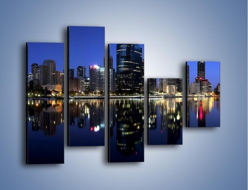 Obraz na płótnie – Brisbane w Australii nocą – pięcioczęściowy AM354W4
