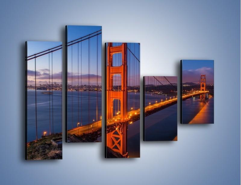 Obraz na płótnie – Rozświetlony most Golden Gate – pięcioczęściowy AM360W4