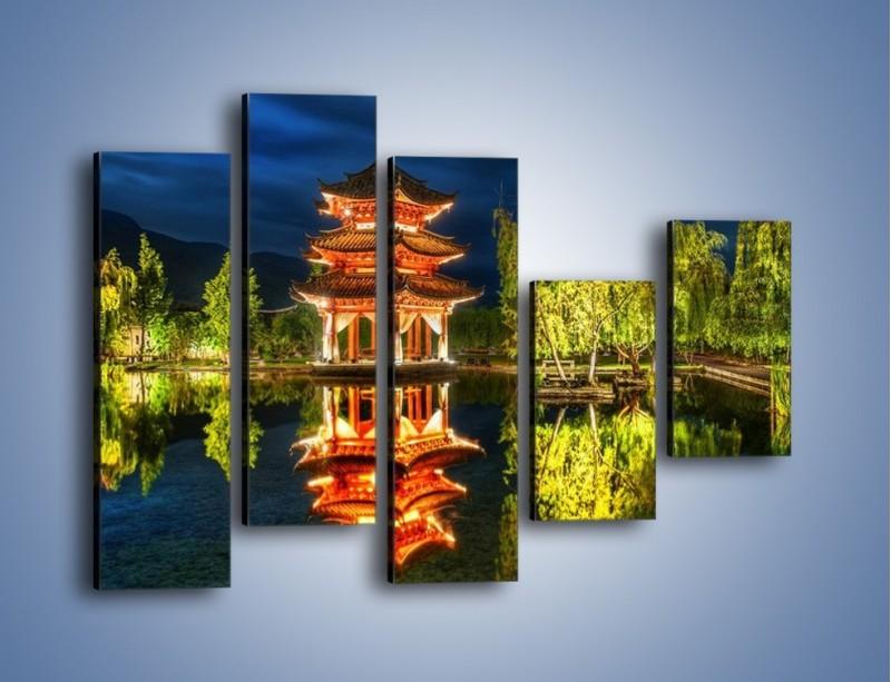 Obraz na płótnie – Urokliwy park w Chinach – pięcioczęściowy AM365W4