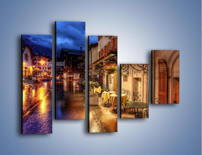 Obraz na płótnie – Romantyczne miasteczko pod Alpami – pięcioczęściowy AM368W4