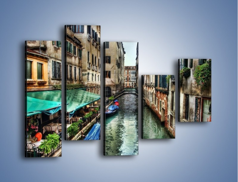 Obraz na płótnie – Wenecka uliczka w kolorach HDR – pięcioczęściowy AM374W4