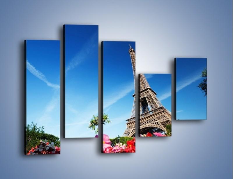 Obraz na płótnie – Wieża Eiffla pod błękitnym niebem – pięcioczęściowy AM379W4
