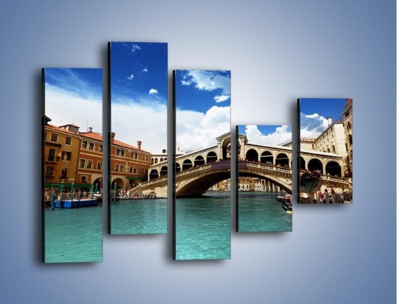 Obraz na płótnie – Most Rialto w Wenecji – pięcioczęściowy AM386W4
