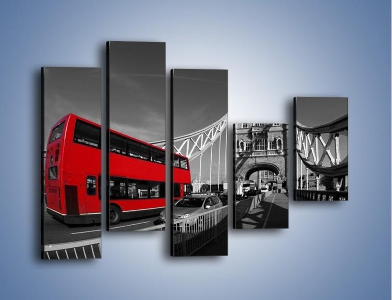 Obraz na płótnie – Tower Bridge i czerwony autobus – pięcioczęściowy AM394W4