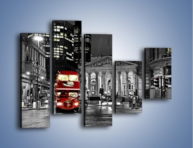 Obraz na płótnie – Czerwony autobus w Londynie – pięcioczęściowy AM395W4
