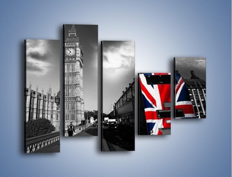 Obraz na płótnie – Big Ben i autobus z flagą UK – pięcioczęściowy AM396W4