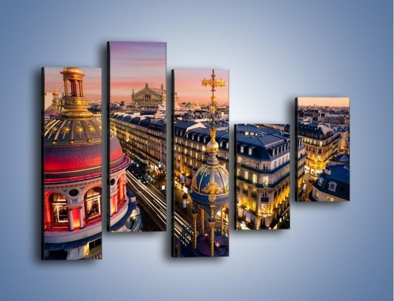 Obraz na płótnie – Paryska architektura – pięcioczęściowy AM402W4