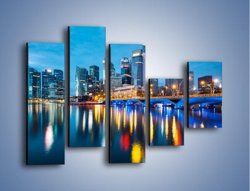 Obraz na płótnie – Kolorowe światła Singapuru – pięcioczęściowy AM408W4
