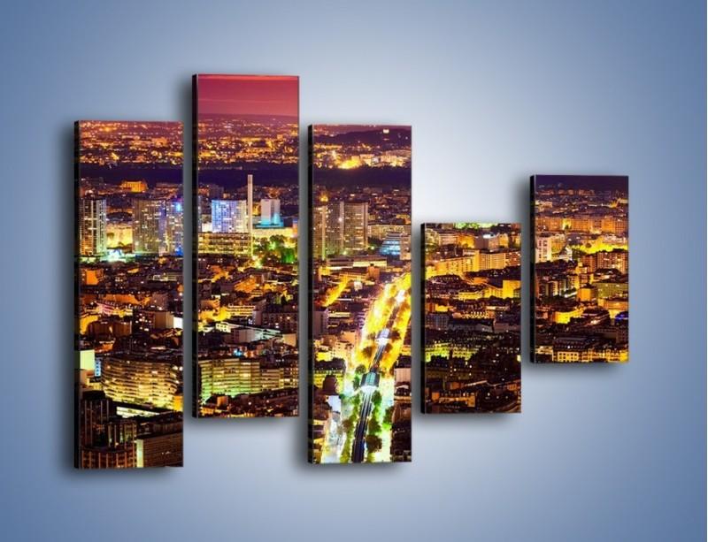 Obraz na płótnie – Kolory Paryża nocą – pięcioczęściowy AM419W4