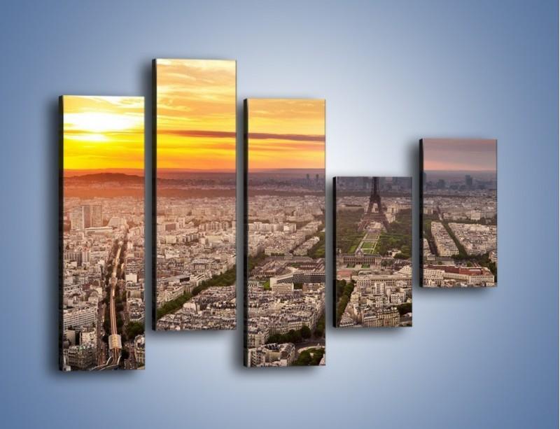 Obraz na płótnie – Zachód słońca nad Paryżem – pięcioczęściowy AM420W4