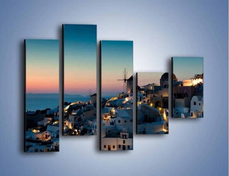 Obraz na płótnie – Domki na Santorini po zmierzchu – pięcioczęściowy AM421W4