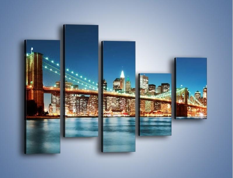 Obraz na płótnie – Most Brookliński na tle Nowego Jorku – pięcioczęściowy AM428W4