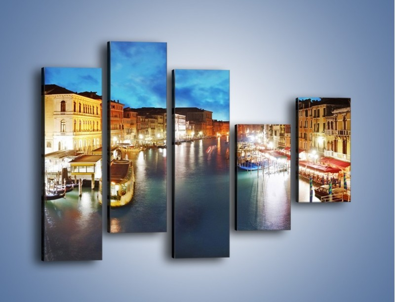 Obraz na płótnie – Światła Wenecji po zmroku – pięcioczęściowy AM430W4