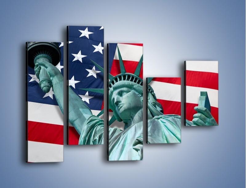 Obraz na płótnie – Statua Wolności na tle flagi USA – pięcioczęściowy AM435W4