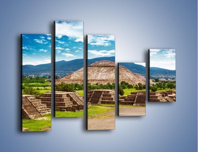 Obraz na płótnie – Piramida Słońca w Meksyku – pięcioczęściowy AM450W4