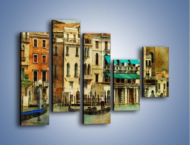 Obraz na płótnie – Weneckie domy w stylu vintage – pięcioczęściowy AM459W4