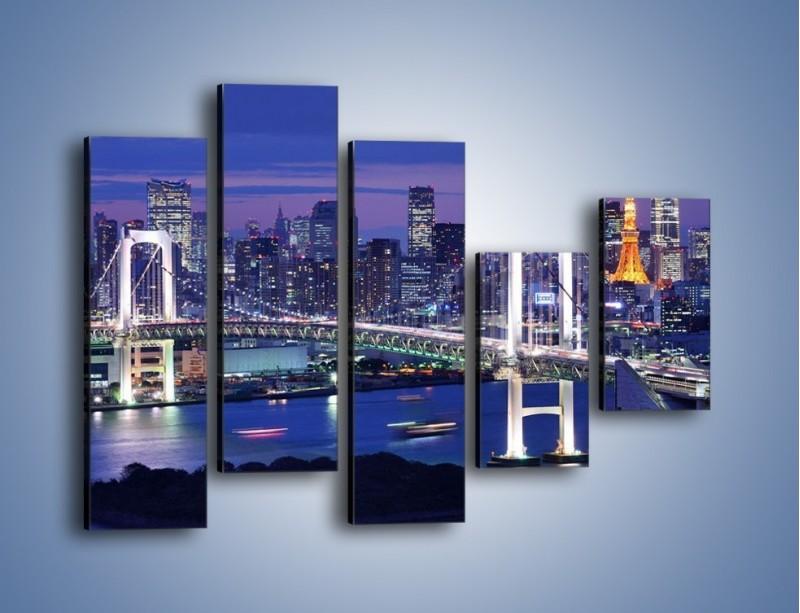 Obraz na płótnie – Tęczowy Most w Tokyo – pięcioczęściowy AM460W4