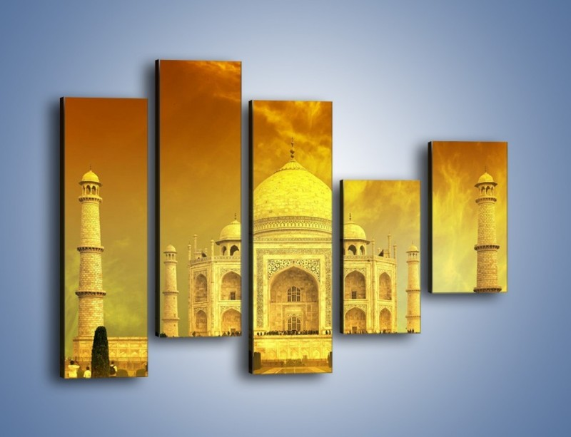 Obraz na płótnie – Tadź Mahal w żółtym kolorze – pięcioczęściowy AM465W4