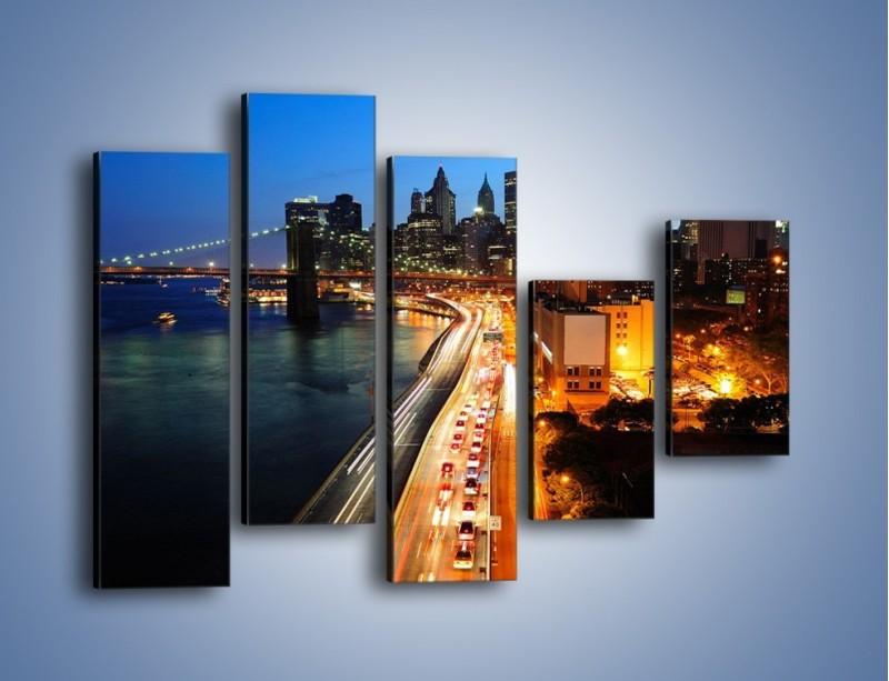 Obraz na płótnie – Manhattan wieczorową porą – pięcioczęściowy AM477W4