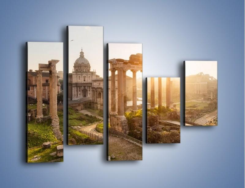Obraz na płótnie – Rzymskie ruiny o zachodzie słońca – pięcioczęściowy AM480W4