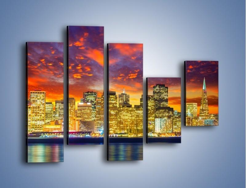 Obraz na płótnie – Wieżowce San Francisco nad wodą – pięcioczęściowy AM481W4