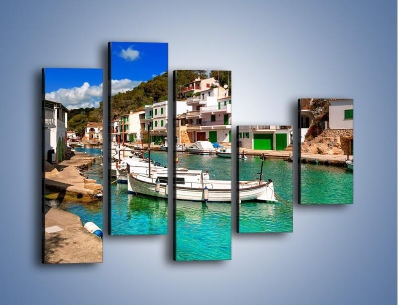 Obraz na płótnie – Domki nad wodą na Majorce – pięcioczęściowy AM484W4