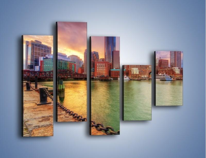 Obraz na płótnie – Widok na centrum Bostonu – pięcioczęściowy AM486W4