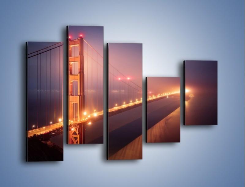 Obraz na płótnie – Most Golden Gate w nocnej mgle – pięcioczęściowy AM490W4