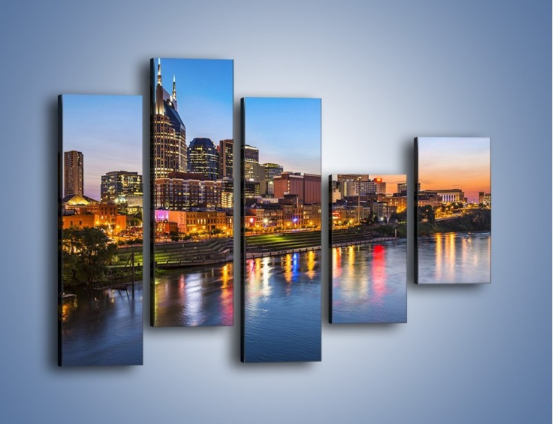 Obraz na płótnie – Nashville nad rzeką Cumberland – pięcioczęściowy AM491W4