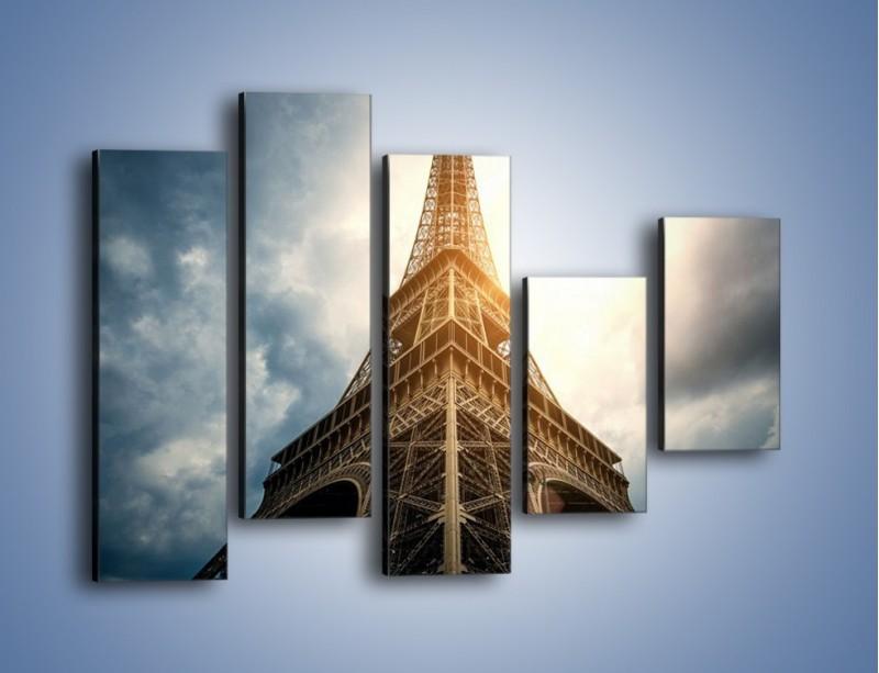 Obraz na płótnie – Wieża Eiffla w blasku słońca – pięcioczęściowy AM494W4
