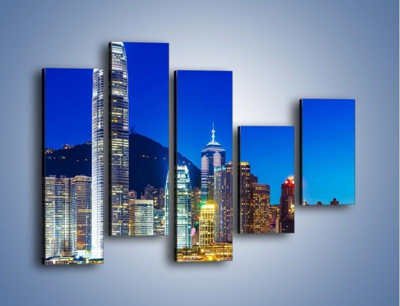 Obraz na płótnie – Oświetlone wieżowce Hong Kongu – pięcioczęściowy AM498W4