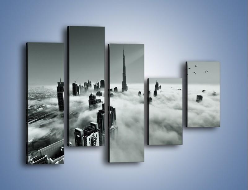 Obraz na płótnie – Centrum Dubaju we mgle – pięcioczęściowy AM502W4