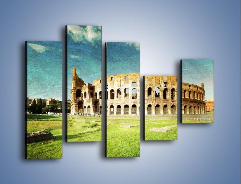 Obraz na płótnie – Koloseum w stylu vintage – pięcioczęściowy AM503W4