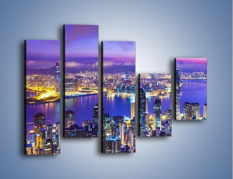 Obraz na płótnie – Wieczorna panorama Hong Kongu – pięcioczęściowy AM505W4